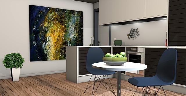 obraz, jídelní stůl, návrh kuchyně
