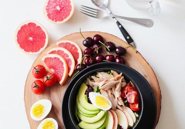 ovoce, vejce, zdravé jídlo